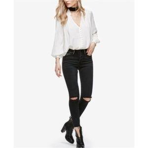NEW Free People Payton Studded Skinny Black Jeans